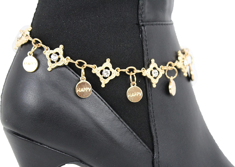 Women Fashion Metal Shoe Boot Bracelet Chain Gold Bling Ring Silver Rhinestones