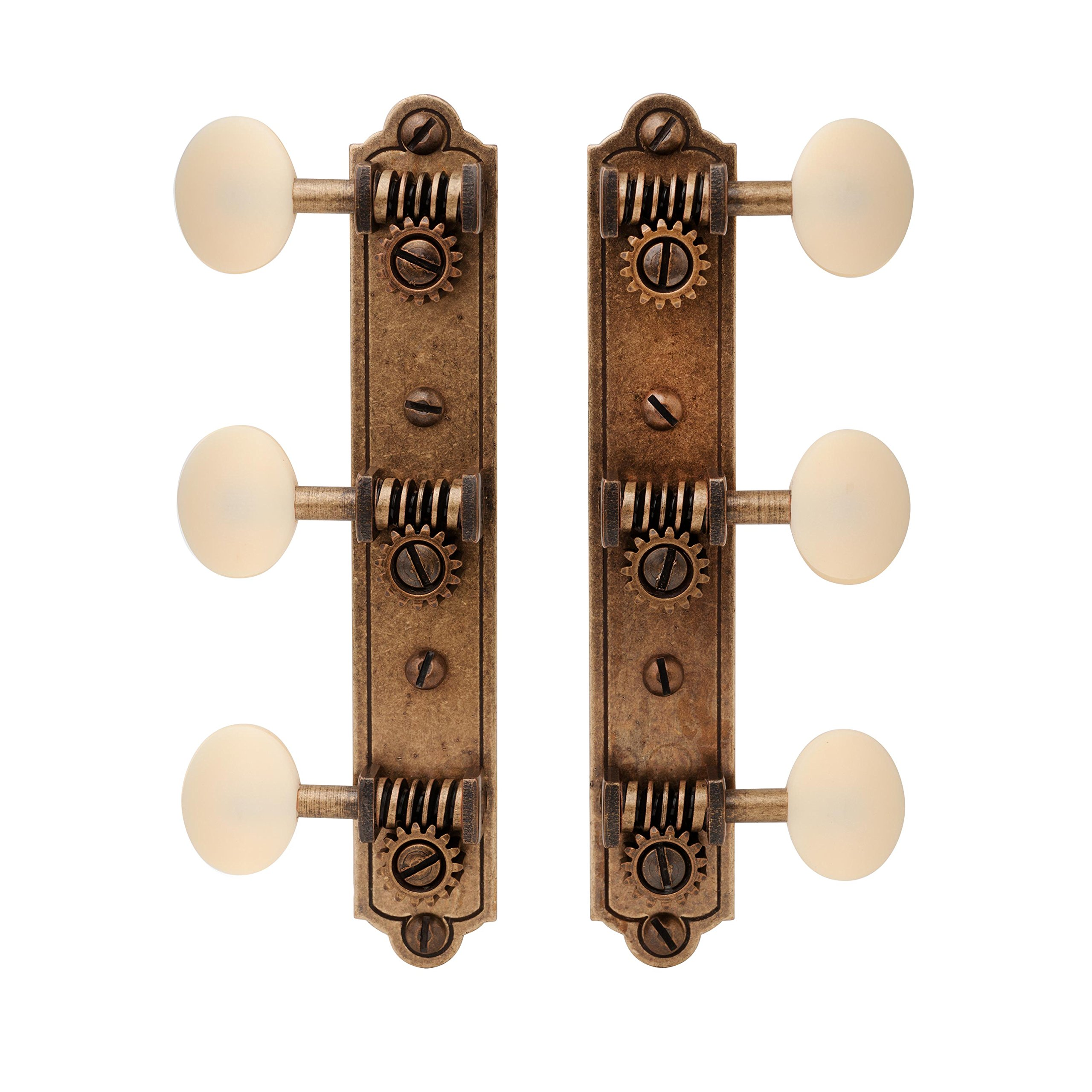 Golden Age Restoration Tuners for Solid Peghead Guitar with Bell-end, Relic Brass with Matte Cream Knobs