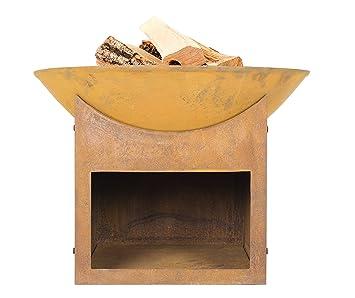 La Hacienda Fasa estufa de hierro fundido con madera Store - 56 cm de diámetro: Amazon.es: Jardín