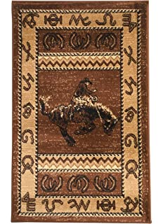 Rugs 4 Less Collection Cowboy Horse Western Cabin Style Lodge Door Mat Area  Rug Design R4L
