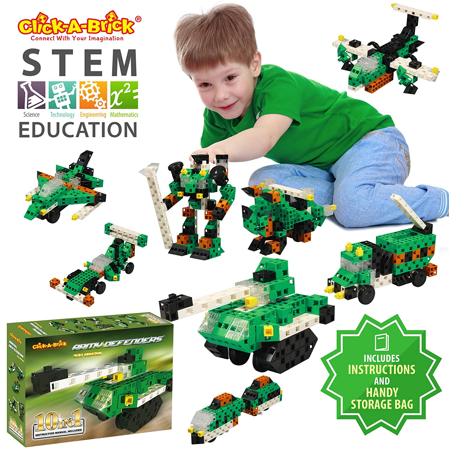 Click-A-Brick Army Defenders 100pc Building Blocks Set | Best STEM Toys for Boys & Girls Age 5 6 7 Year Old | Kids 3D Creative Puzzle Fun | Top Educational Learning Gift For Children Ages 5 - 12 Review