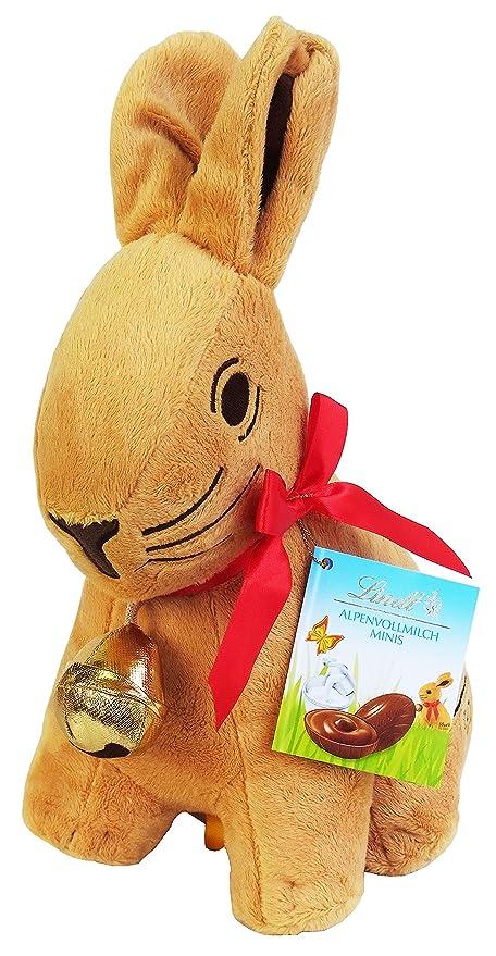 Lindt Conejo de Pascua peluche 28m con Lindt Chocolates, 100g: Amazon.es: Alimentación y bebidas