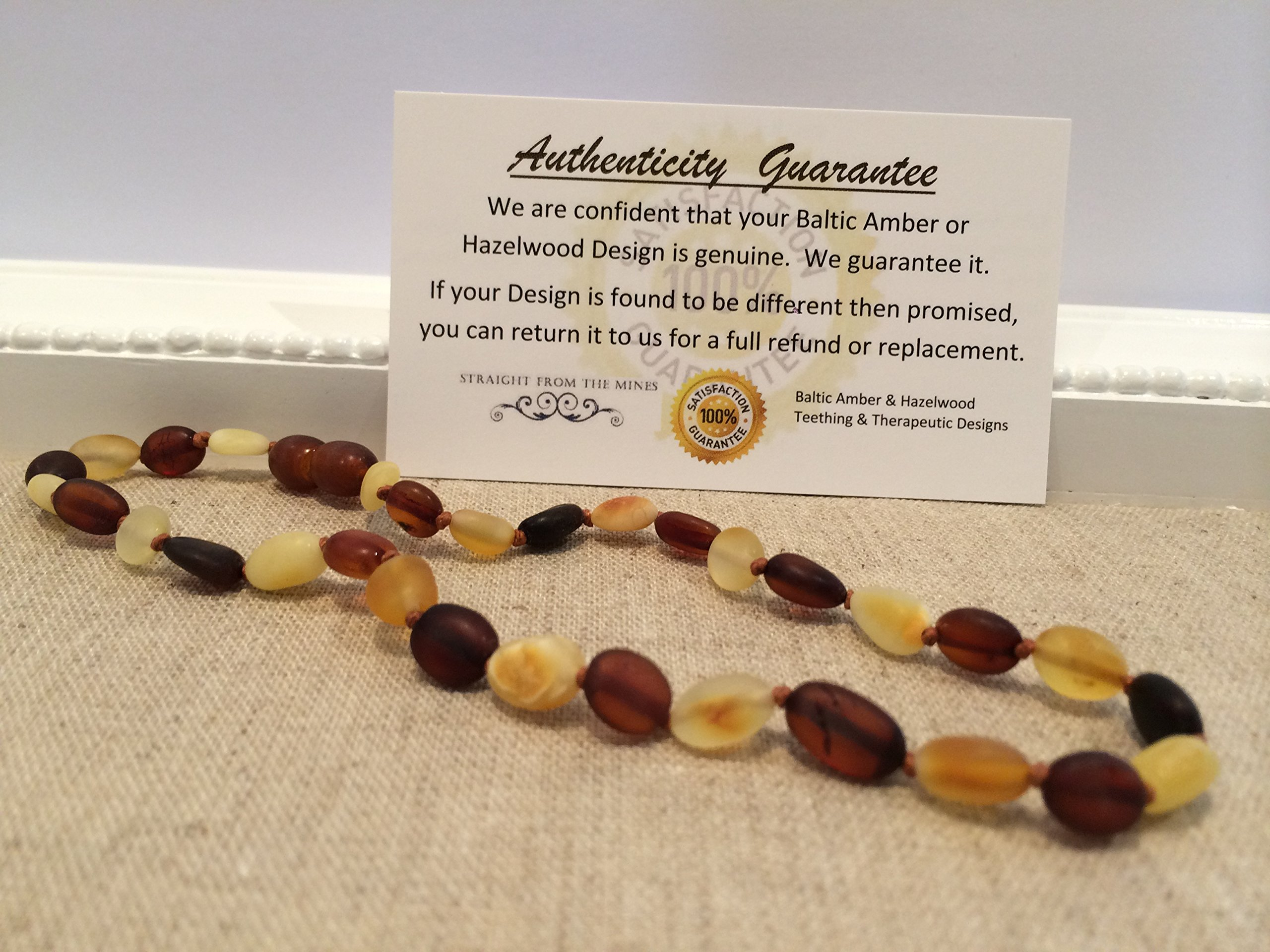 Baltic Amber Teething Necklace for Babies (Unisex) - Anti Flammatory, Drooling & Teething Pain Reduce Properties - Certificated Natural Oval Baltic Jewelry with the Highest Quality Guaranteed. Easy to Fastens with a Twist-in Screw Clasp Mothers Approved R
