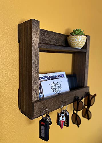 Handmade Entryway Key Holder and Mail Organizer Coat Rack Wall Hooks Farmhouse Home Decor Floating Shelf Wall Mount for housewarming gift