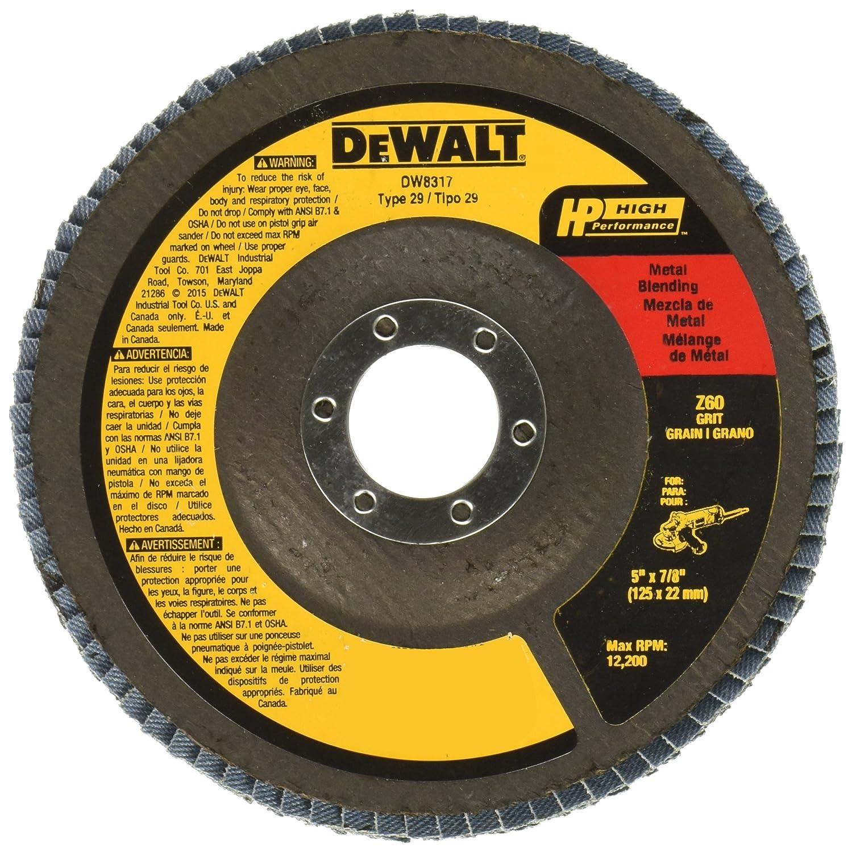 DEWALT DW8317 5-Inch by 7/8-Inch 60 Grit Zirconia Angle Grinder Flap Disc