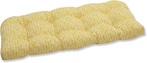 "Pillow Perfect Outdoor/Indoor Herringbone Egg Yolk Tufted Loveseat Cushion, 44"" x 19"", Yellow"