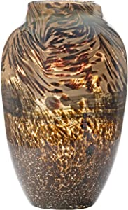 Handmade & Mouthblown Brown & Black Glass Decorative Flower Vase for Home Decor – Centerpiece or Floor – 11.8 inch/30cm Tall – Living Room, Dining Table, Statement, Lobby, Office, Decoration.