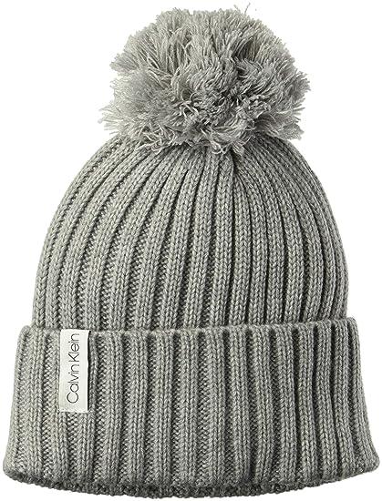 d595f0df Calvin Klein Women's Basic Rib Pom Hat, Heather mid Grey, O/S:  Amazon.co.uk: Clothing