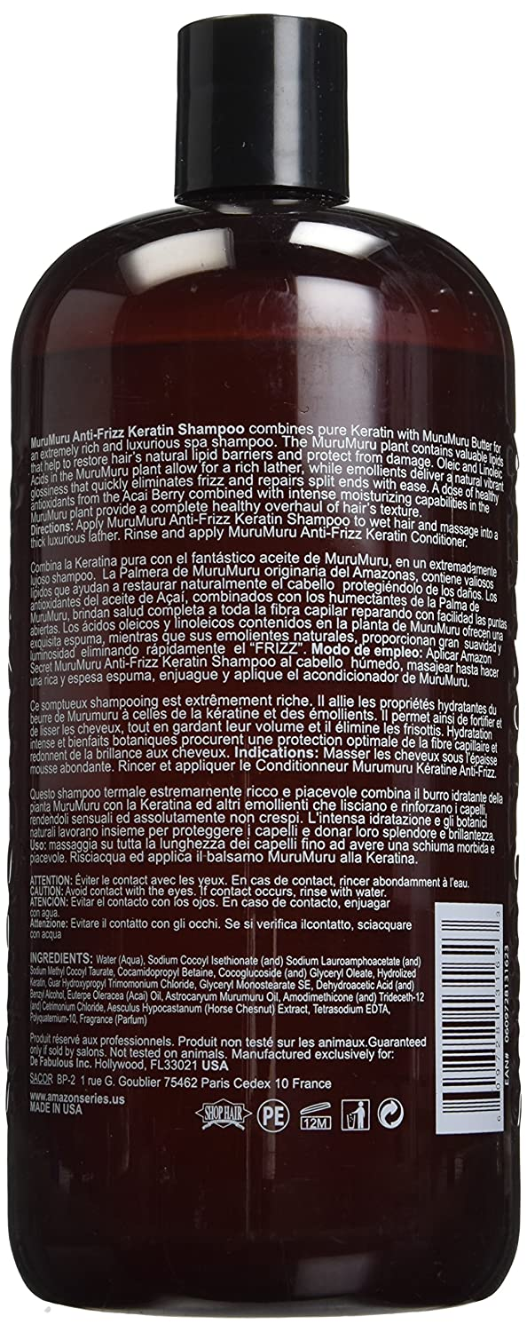 Amazon.com: Amazon Series Murumuru Anti-Frizz Keratin Shampoo, 33.8 Ounce: Beauty