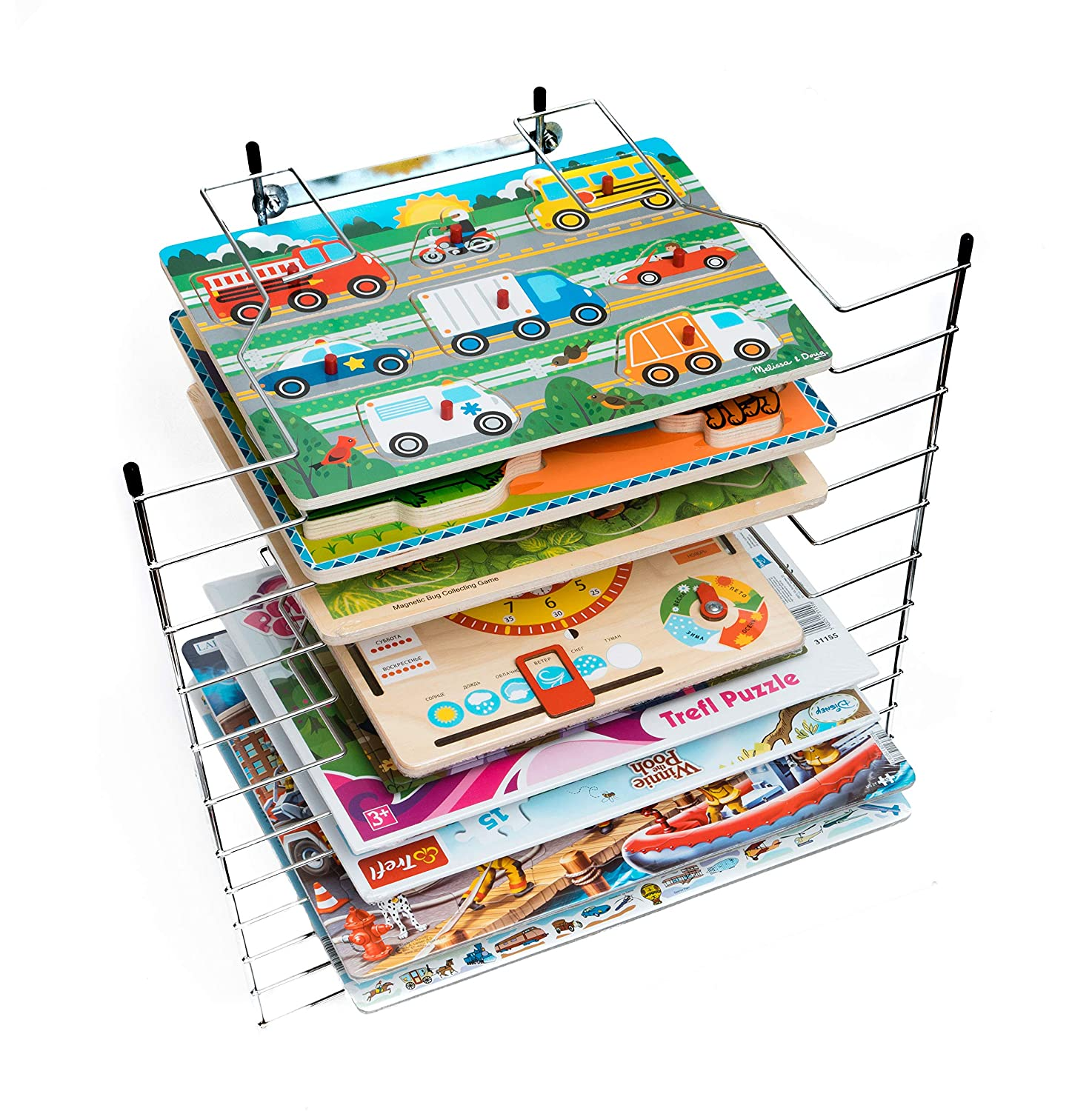 Puzzle Rack Organizer - Holder Storage Wooden Puzzles Toddlers - Large Wire Puzzle Stand Kids - Holds 12 Chunky Puzzles Peg Board Games Kenley