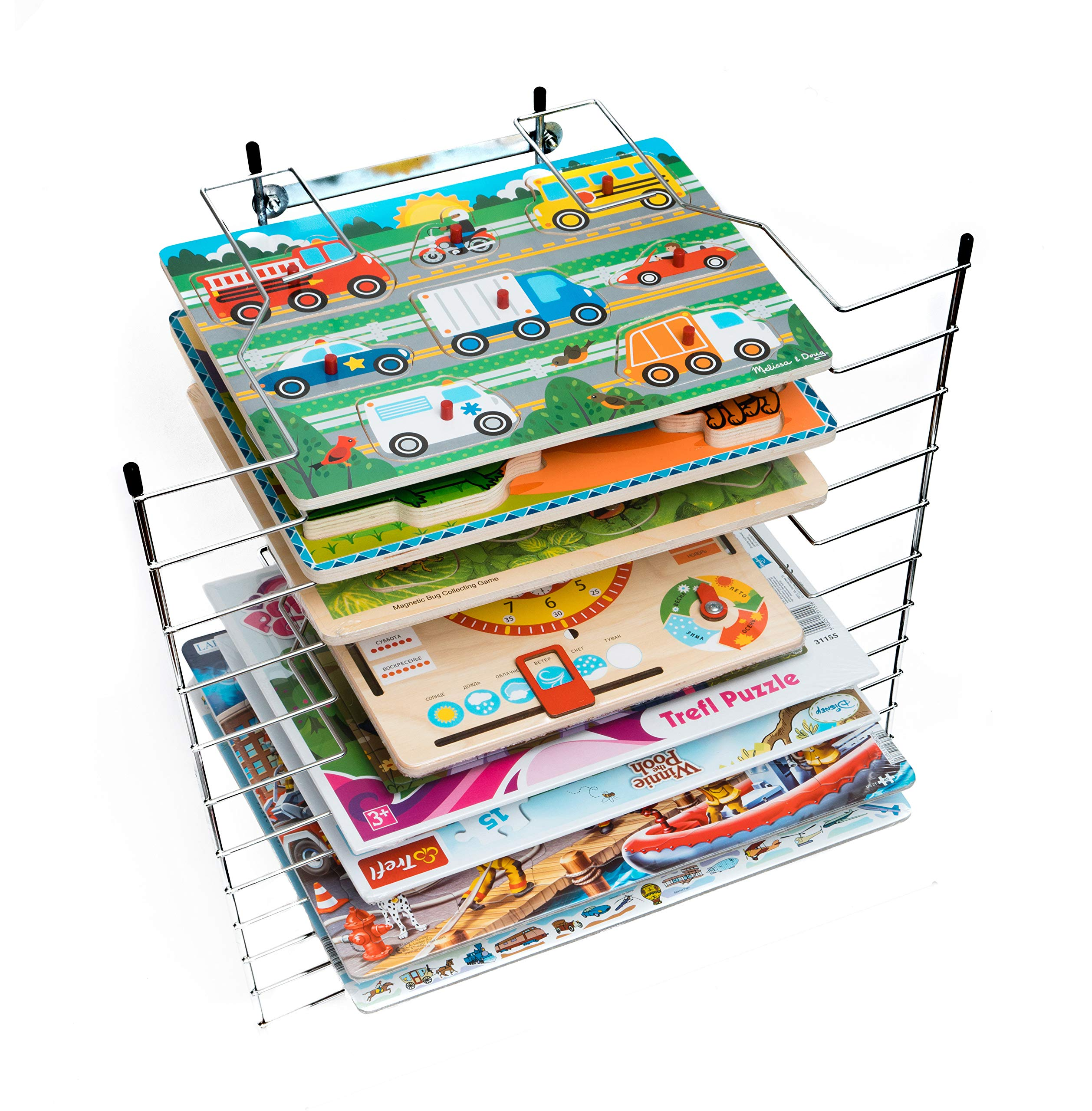 Puzzle Rack Organizer - Holder Storage Wooden Puzzles Toddlers - Large Wire Puzzle Stand Kids - Holds 12 Chunky Puzzles Peg Board Games