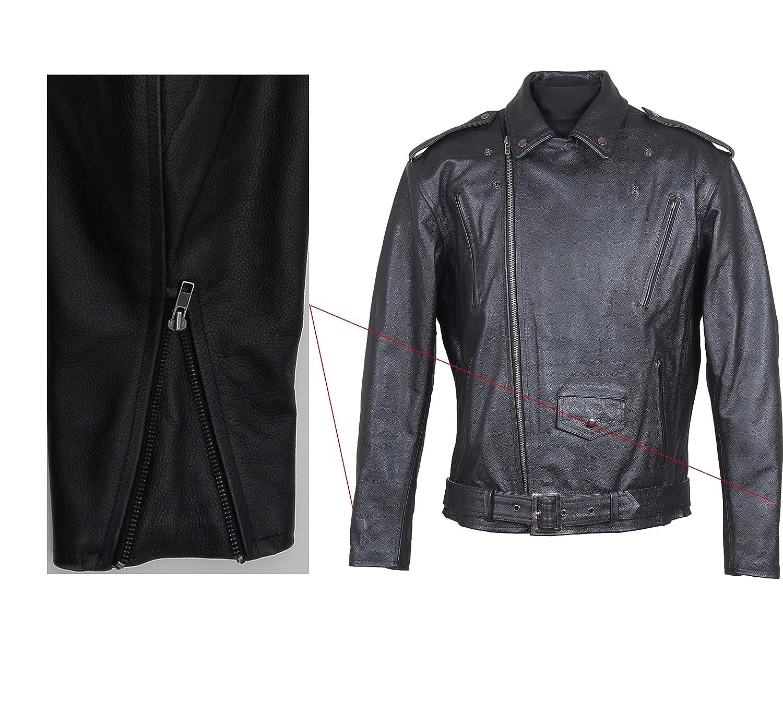Gr/ö/ße 7XL ROLEFF RACEWEAR Kurze Motorrad Lederjacke im Brando Style Schwarz