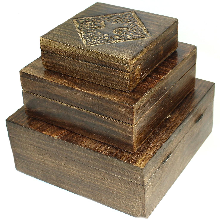 budawi® Holz Truhe Schatulle mit Blumen Motiv Holz-Box Schmuckkiste Holzbox