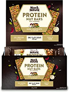 Nice&Natural Real Dark Chocolate and Cacao Protein Nut Bar, 12 bars x 40g