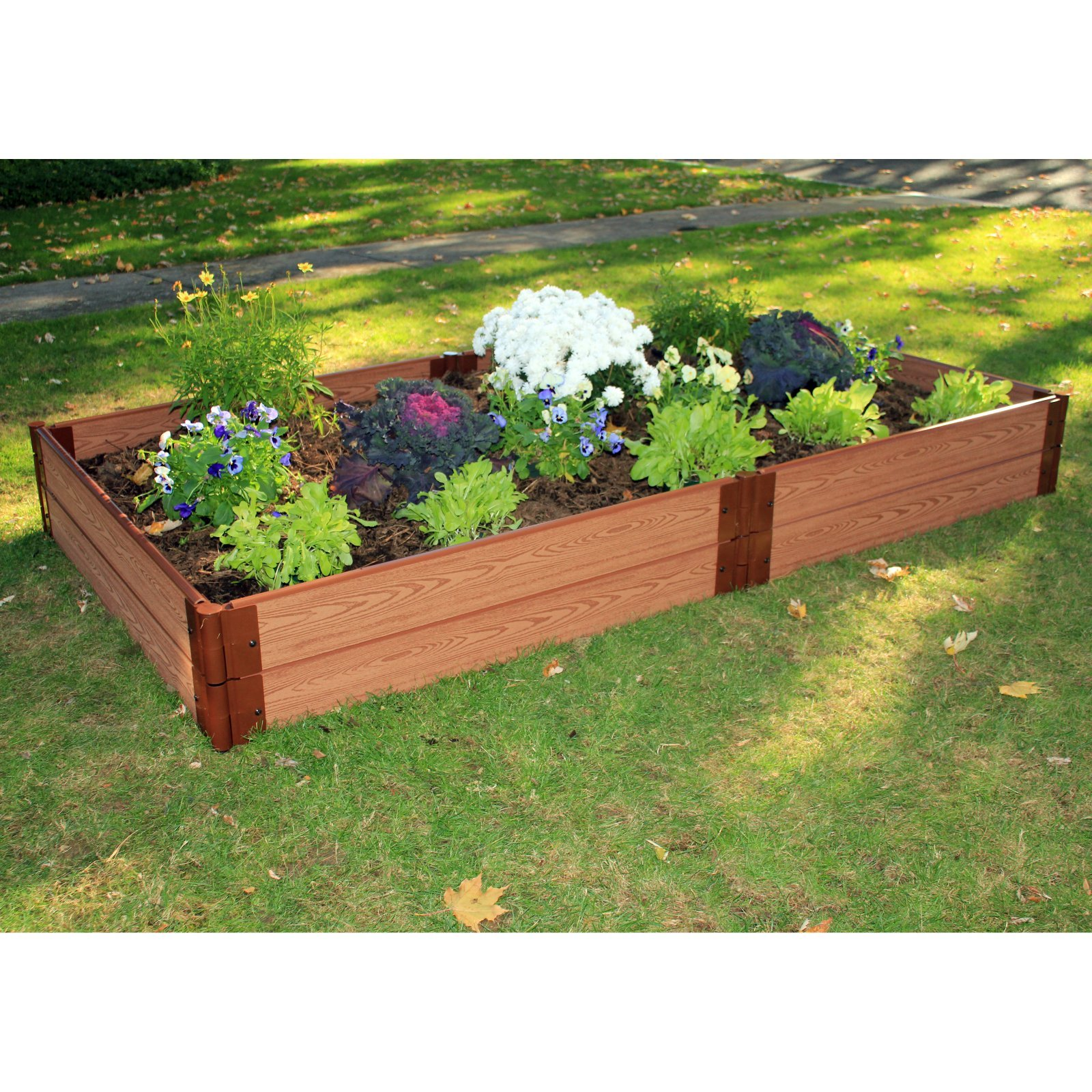 Frame It All 4 ft. x 8 ft. x 12 in. Raised Garden with 1 in. Profile Composite Wood Grain Timbers