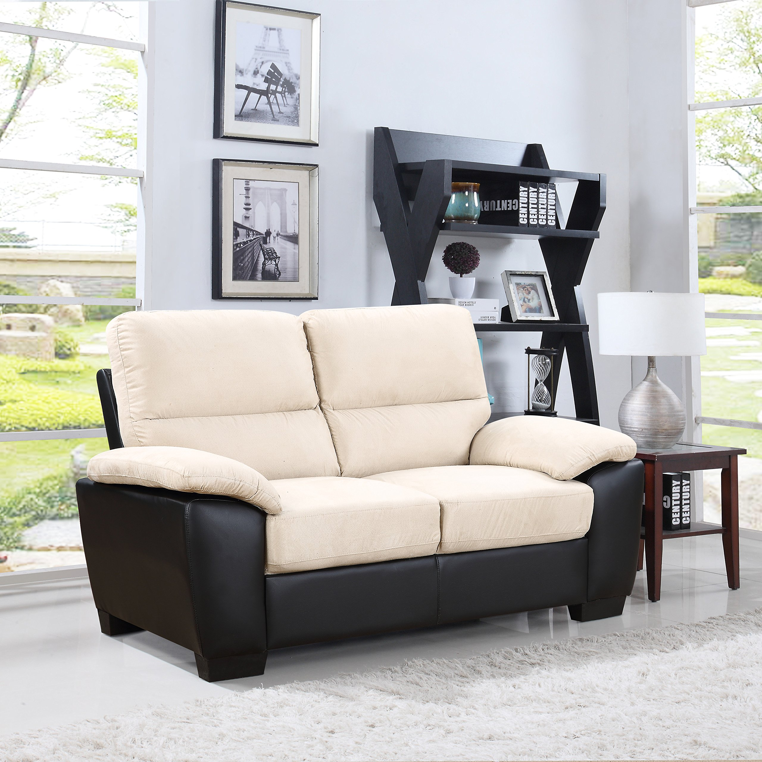 Divano Roma Classic Soft Microfiber and Bonded Leather Living Room Furniture