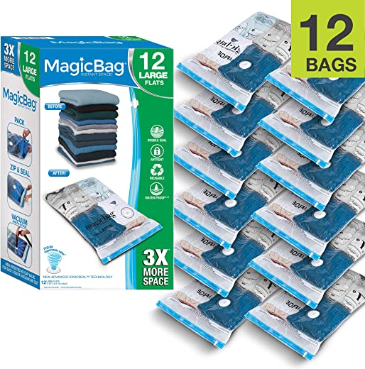 Smart Design MagicBag Instant Space Saver Storage - Flat Large - Airtight Double Zipper - Vacuum Seal - Clothing, Pillows - Home Organization - 6 Bags (Pack of 2) [12 Bags Total]
