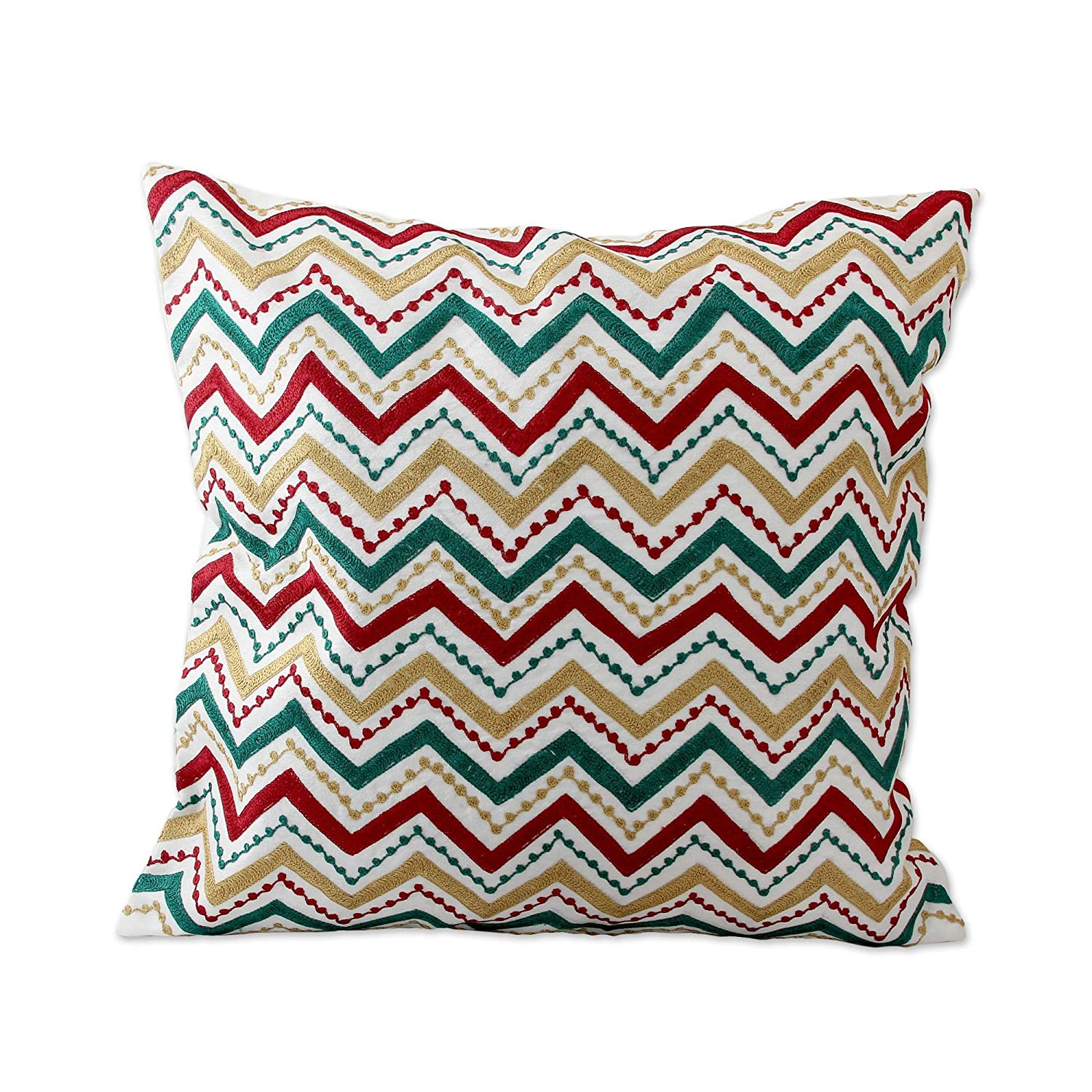 Pair Embroidered Cotton Cushion Covers NOVICA PT061 Jaipur Meadow