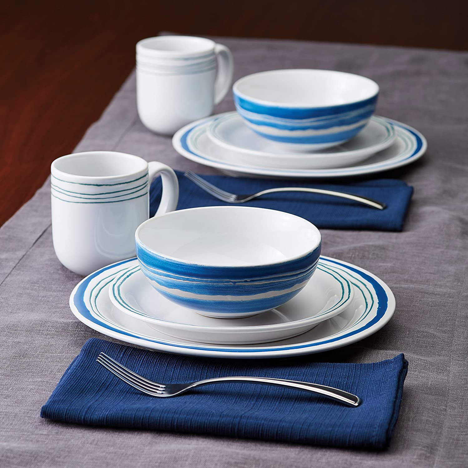 Rachael Ray Brushstrokes Stoneware Dinnerware Set, 16-Piece, Blue Aqua