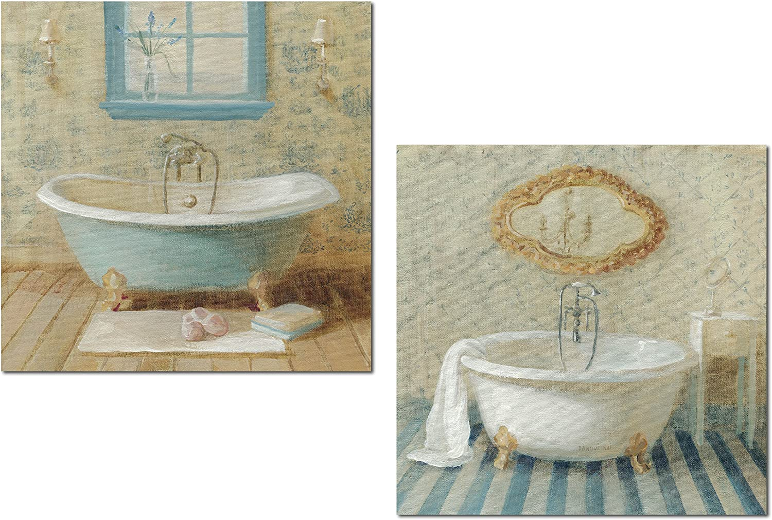 Lovely Light Blue and Cream Clawfoot Bathtub Victorian Set by Danhui Nai; Bathroom Decor; Two 12x12in Unframed Paper Posters
