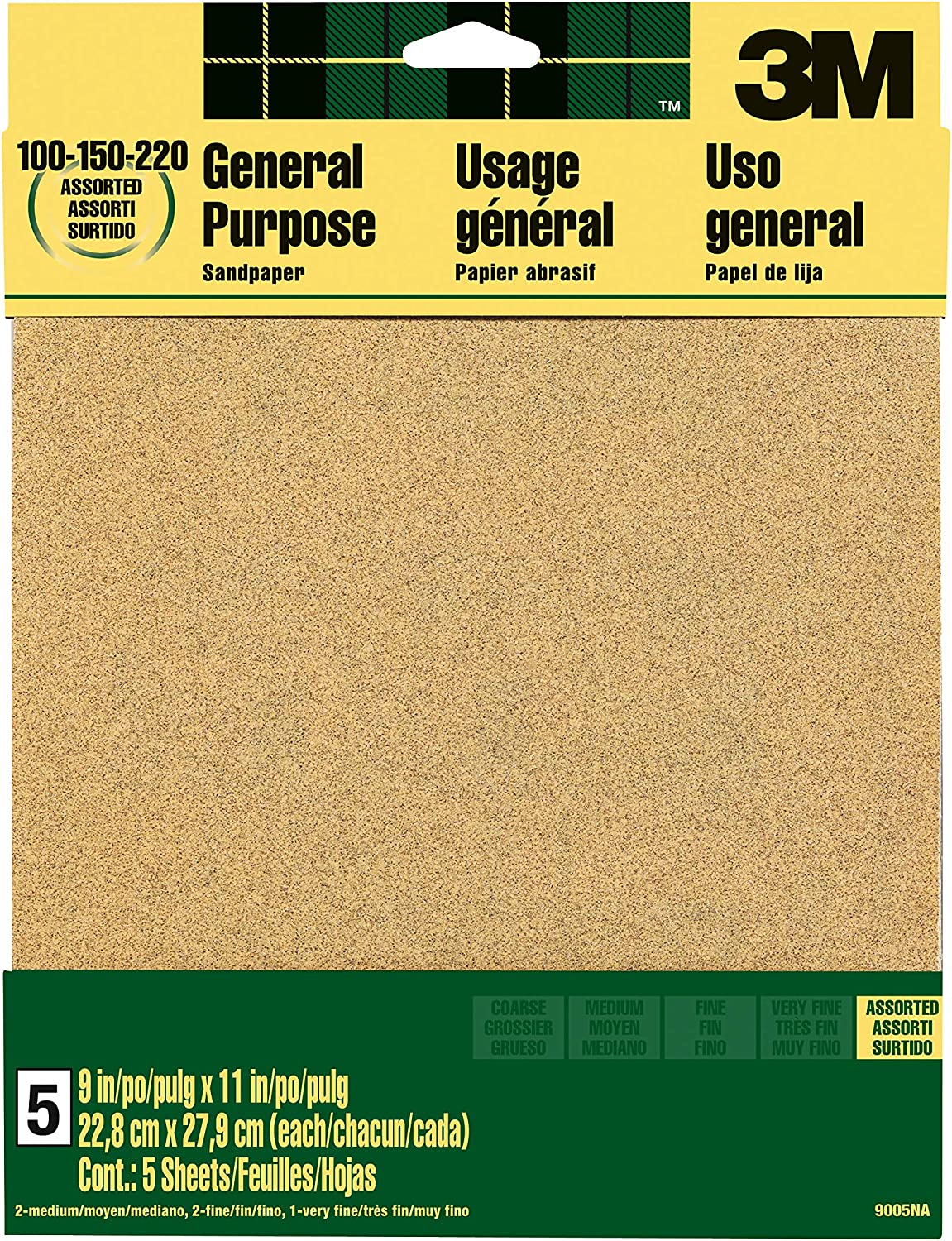 3M Aluminum Oxide Sandpaper, Assorted Grits, 9-in x 11-in Sheets (9005NA) - Abrasive Sheets -