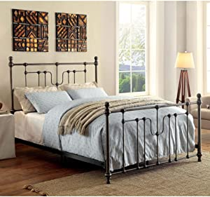 Furniture of America Trenton Vintage Style Metal Bed King