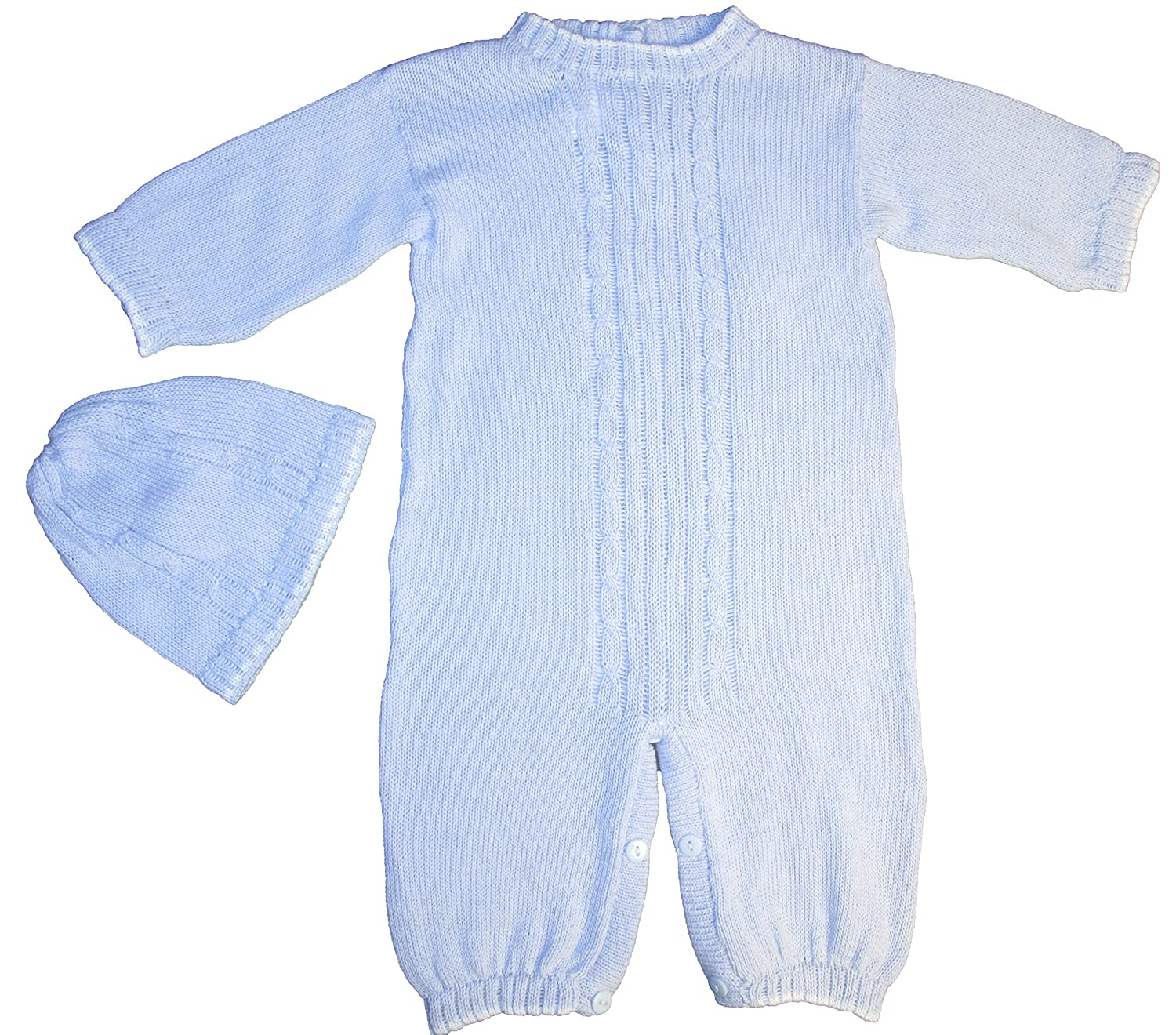 100% Cotton Baby Blue Boys 2 Piece Cable-Knit Longall with Cap Gift Set
