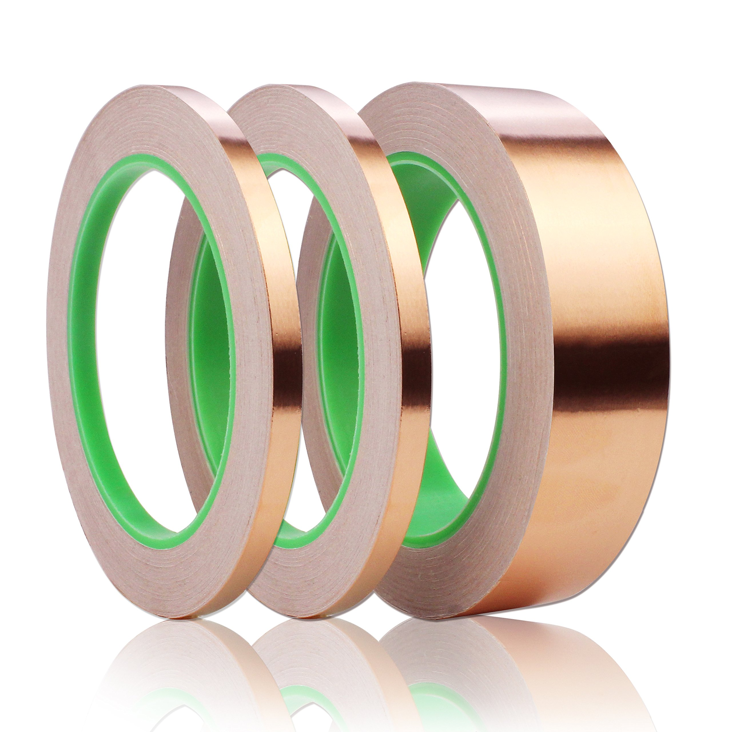 JPSOR Copper Foil Tape with Double-Sided Conductive Adhesive(2 Sizes) for Guitar & EMI Shielding, Paper Circuits, Slug Repellent, Crafts, Electrical Repairs, Grounding by JPSOR