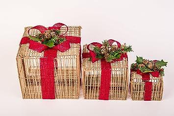 Juego de 3 Navidad caja, caja de hierro con rafia en color marrón con cinta