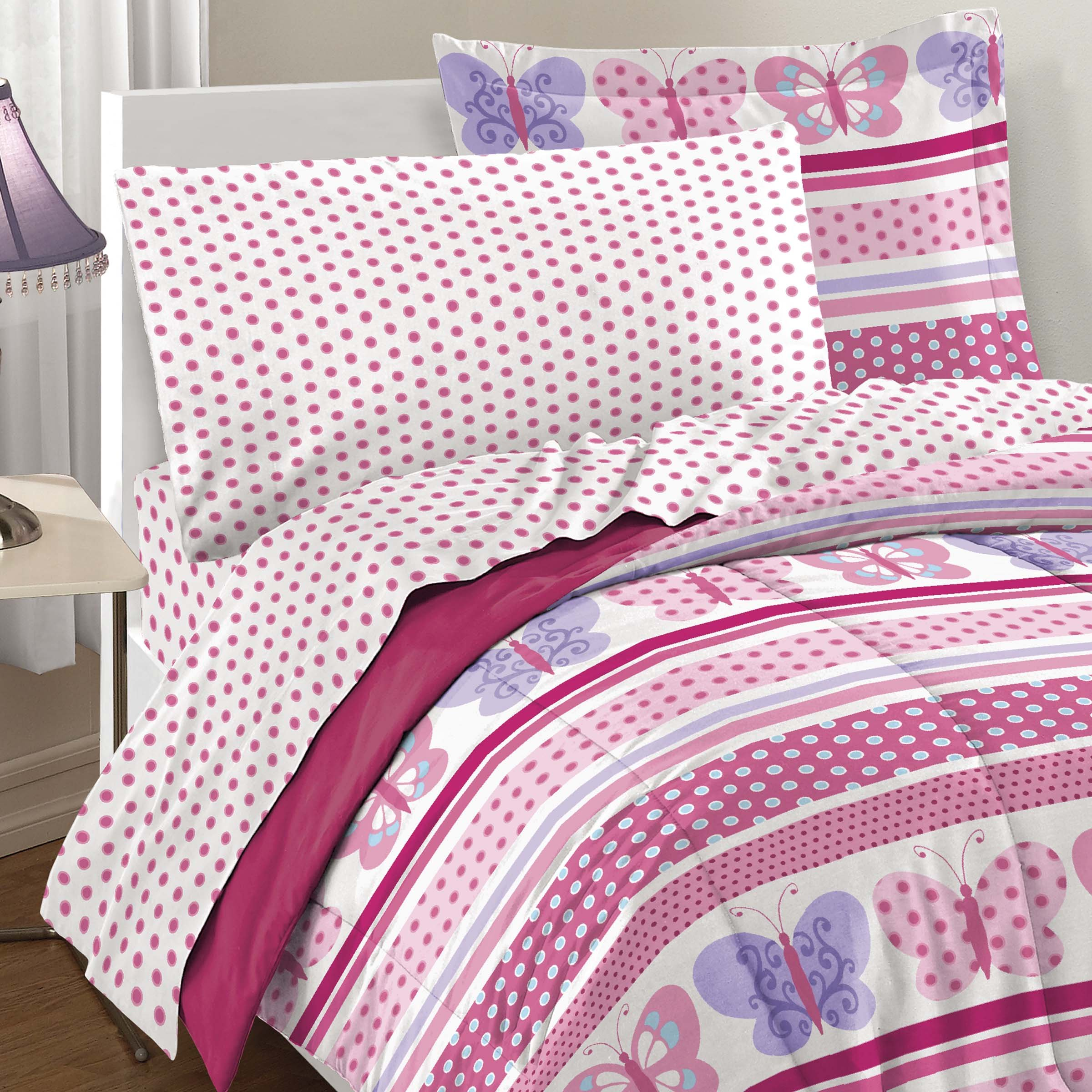 Dream Factory Butterfly Dots Ultra Soft Microfiber Girls Comforter Set, Pink, Twin by Dream Factory (Image #5)