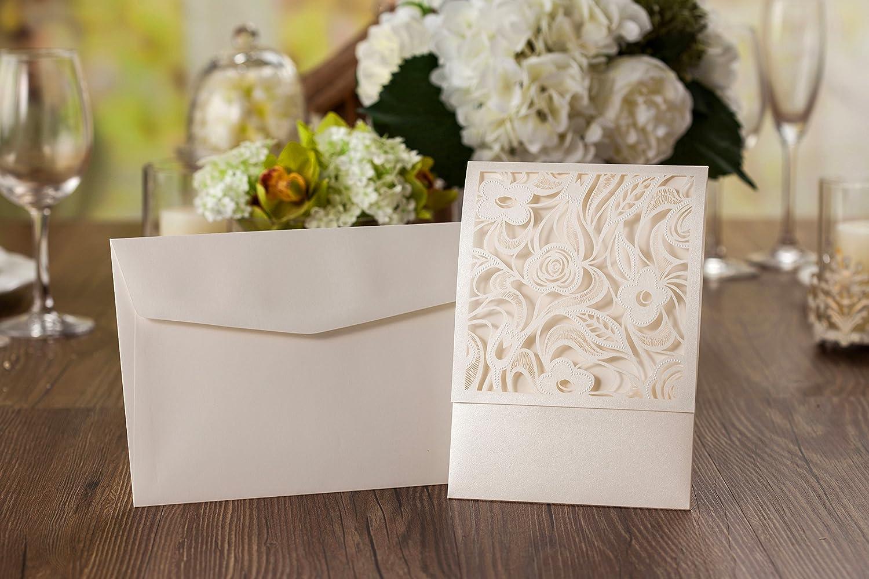 Chloe Floral Embossed Laser Cut Wedding Invitations Pale Ivory ...