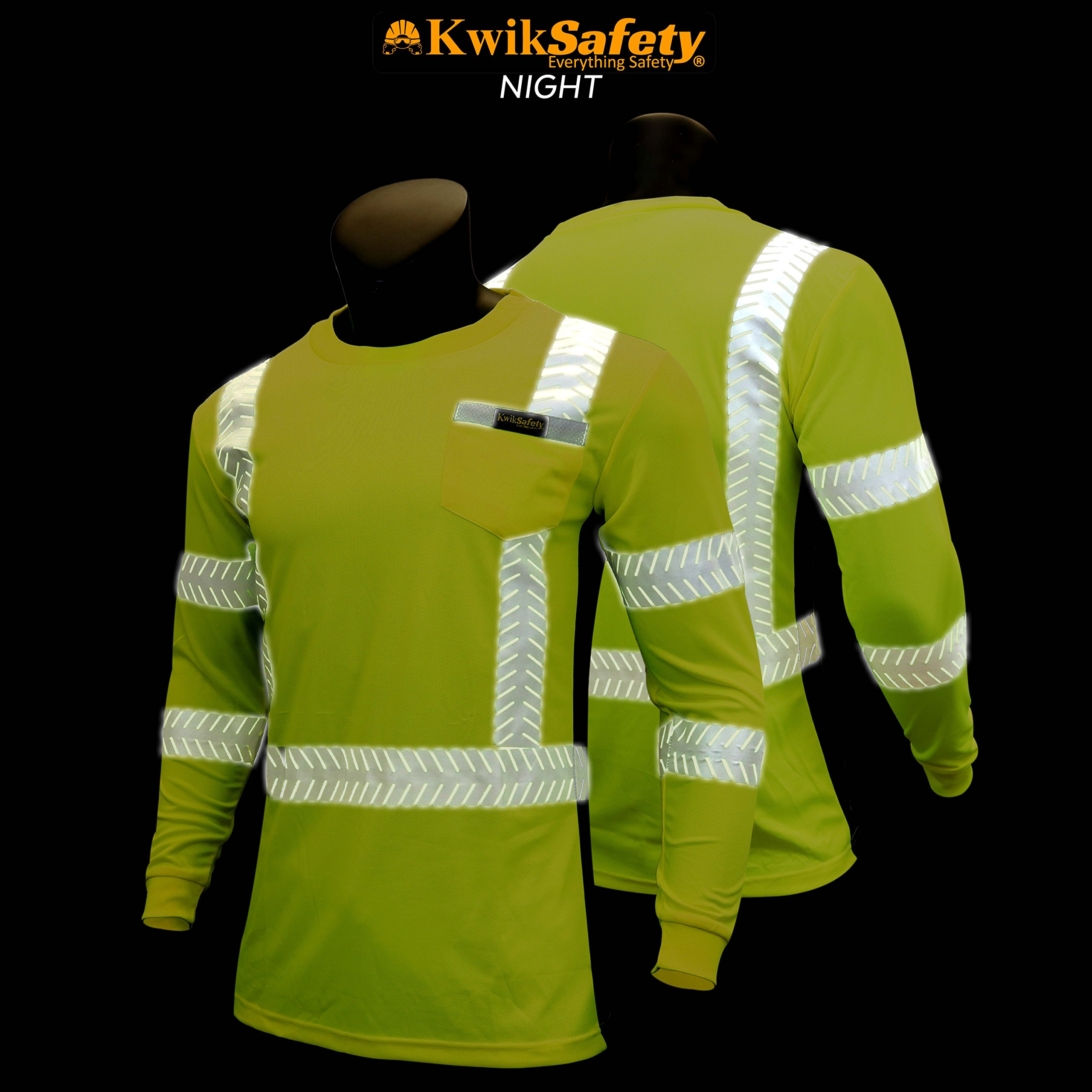 KwikSafety (Charlotte, NC) RENAISSANCE MAN (with POCKET) Class 3 ANSI High Visibility Safety Shirt Fishbone Reflective Tape Construction Security Hi Vis Clothing Men Long Sleeve Yellow Black XL by KwikSafety (Image #4)