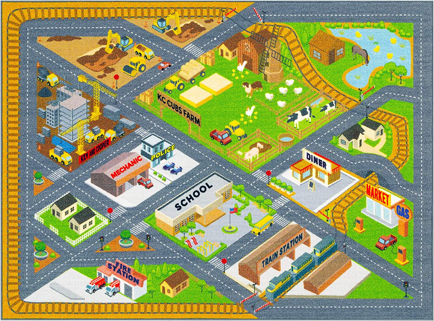 Amazon Com Kc Cubs Playtime Collection Country Farm Road Map With Construction Site Educational Learning Area Rug Carpet For Kids And Children Bedroom And Playroom 5 0 X 6 6 Kitchen Dining