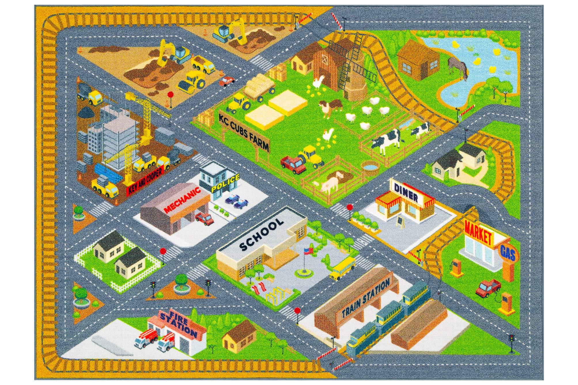 Farm Road Map Area Rug Carpet Kids Play Fun Toddler 5 0x6 6 Educational New 784016368735 Ebay