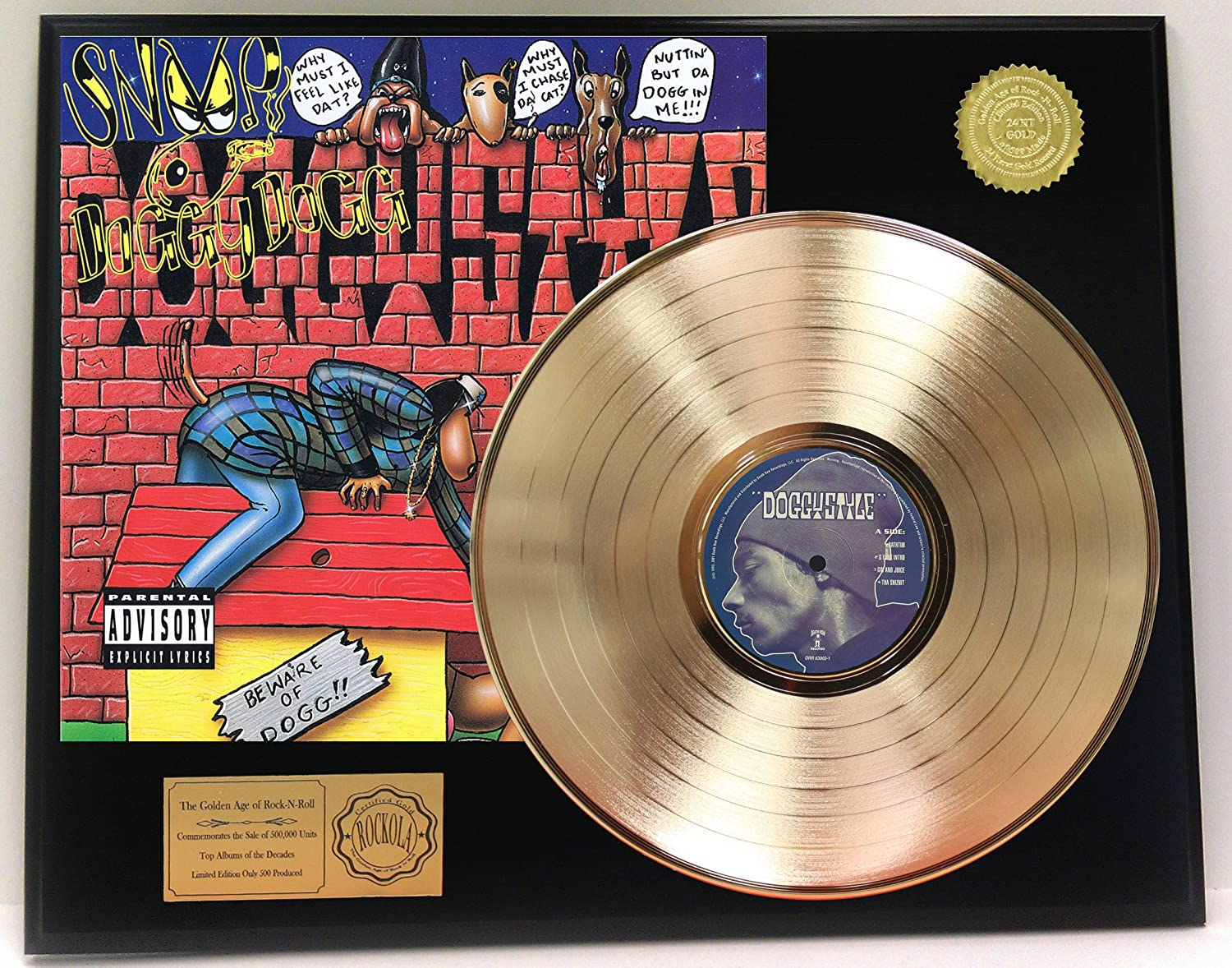 Snoop Dog'Doggystyle' Gold Clad LP Record Limited Edition Display Gold Record Outlet