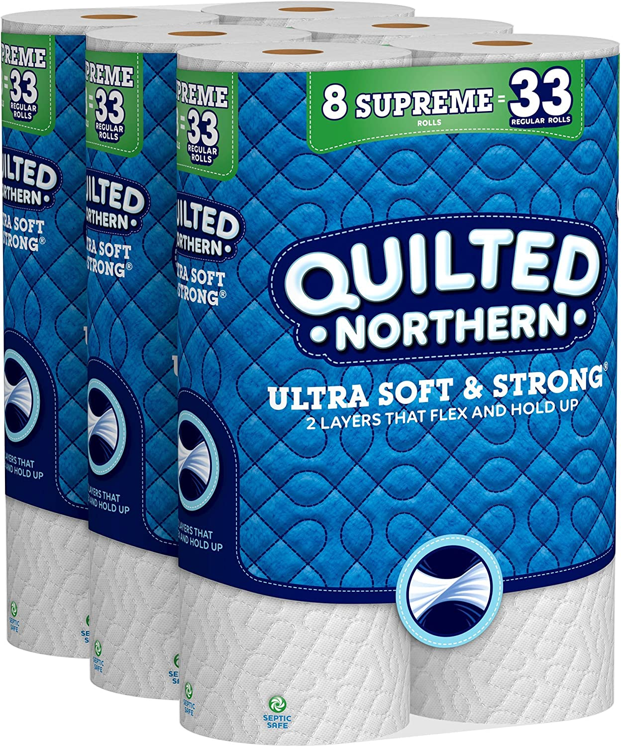 Quilted Northern Ultra Soft & Strong Toilet Paper, 24 Supreme Rolls, 340 2-Ply Sheets Per Roll: Health & Personal Care