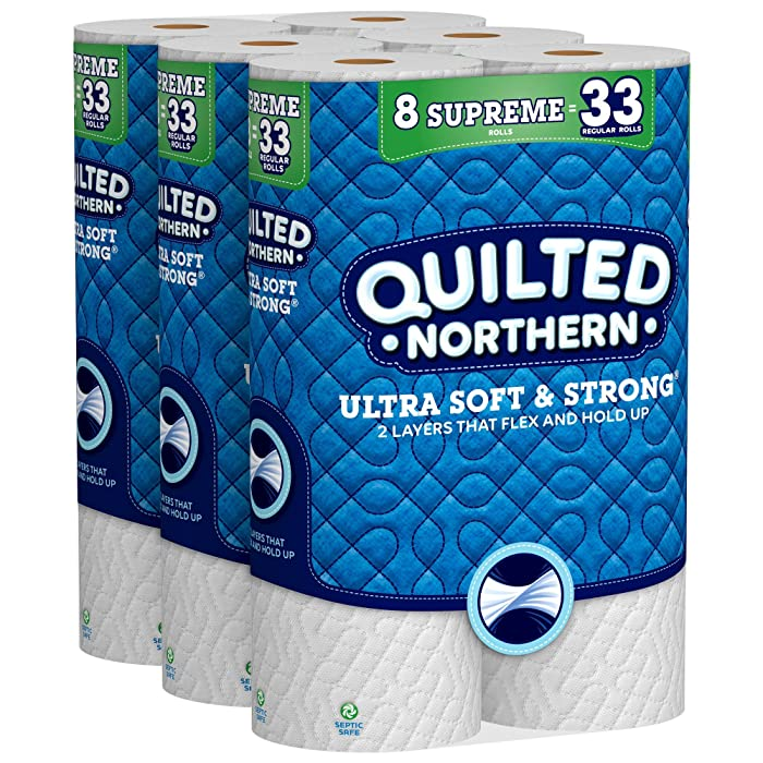 Quilted Northern Ultra Soft & Strong Toilet Paper, 24 Supreme Rolls, 24 = 99 Regular Rolls, Bath Tissue, 3 Packs of 8 Rolls