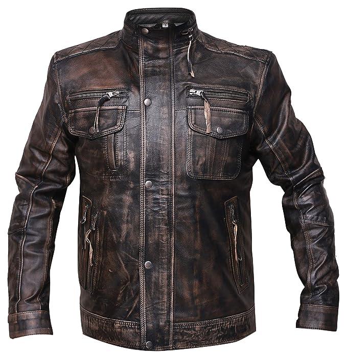 Amazon.com: Chaqueta de moto estilo vintage de piel de cabra ...