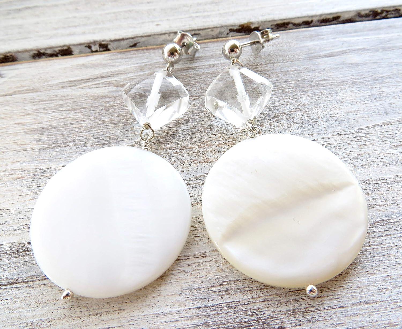 Pendientes de nacar blanco y cristal de roca, pendientes de plata de ley 925, pendientes para novia, joyas para boda, joyería de moda para las mujeres