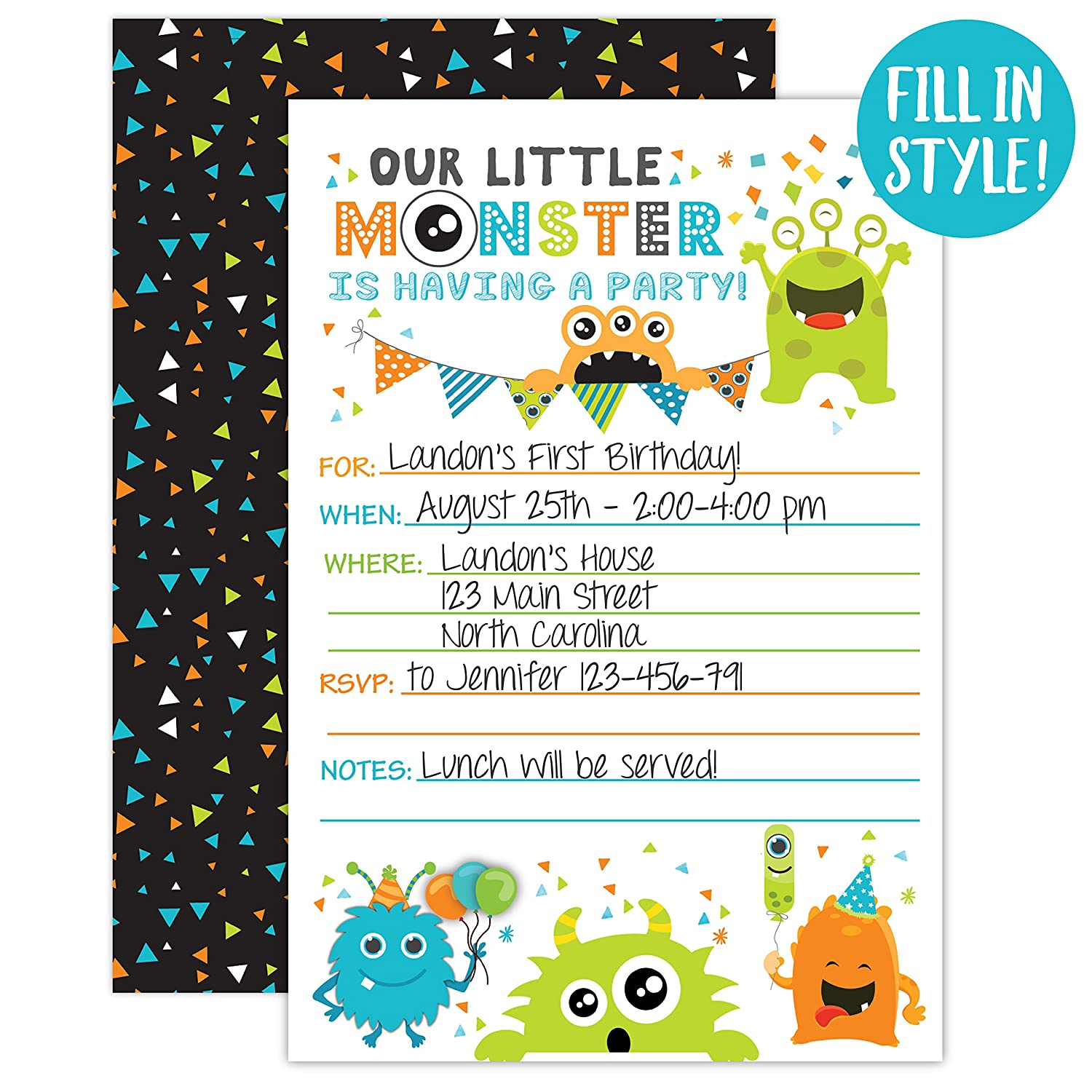 Amazon.com: Monster Birthday Invitations, Little Monster Birthday ...
