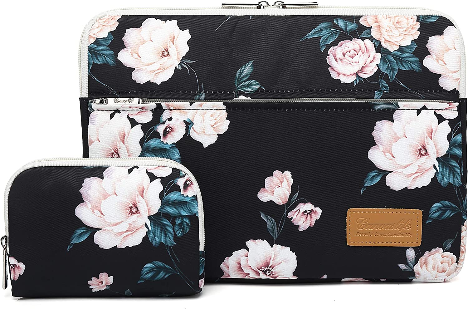 Canvaslife Peony Pattern 360 Degree Protective 13 inch Canvas Laptop Sleeve with Pocket 13 Inch 13.3 Inch Laptop Case