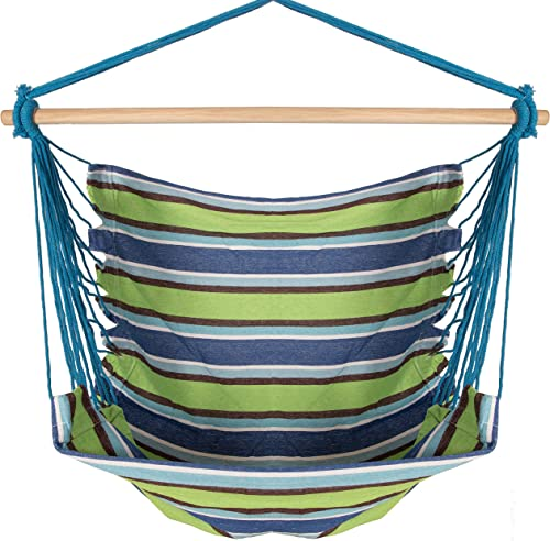 Large Deluxe BRAZILIAN HAMMOCK CHAIR – Hanging Rope Swing – Hang Indoor Or Outdoor – No Hammock Stand Required – by Inspired Home Living