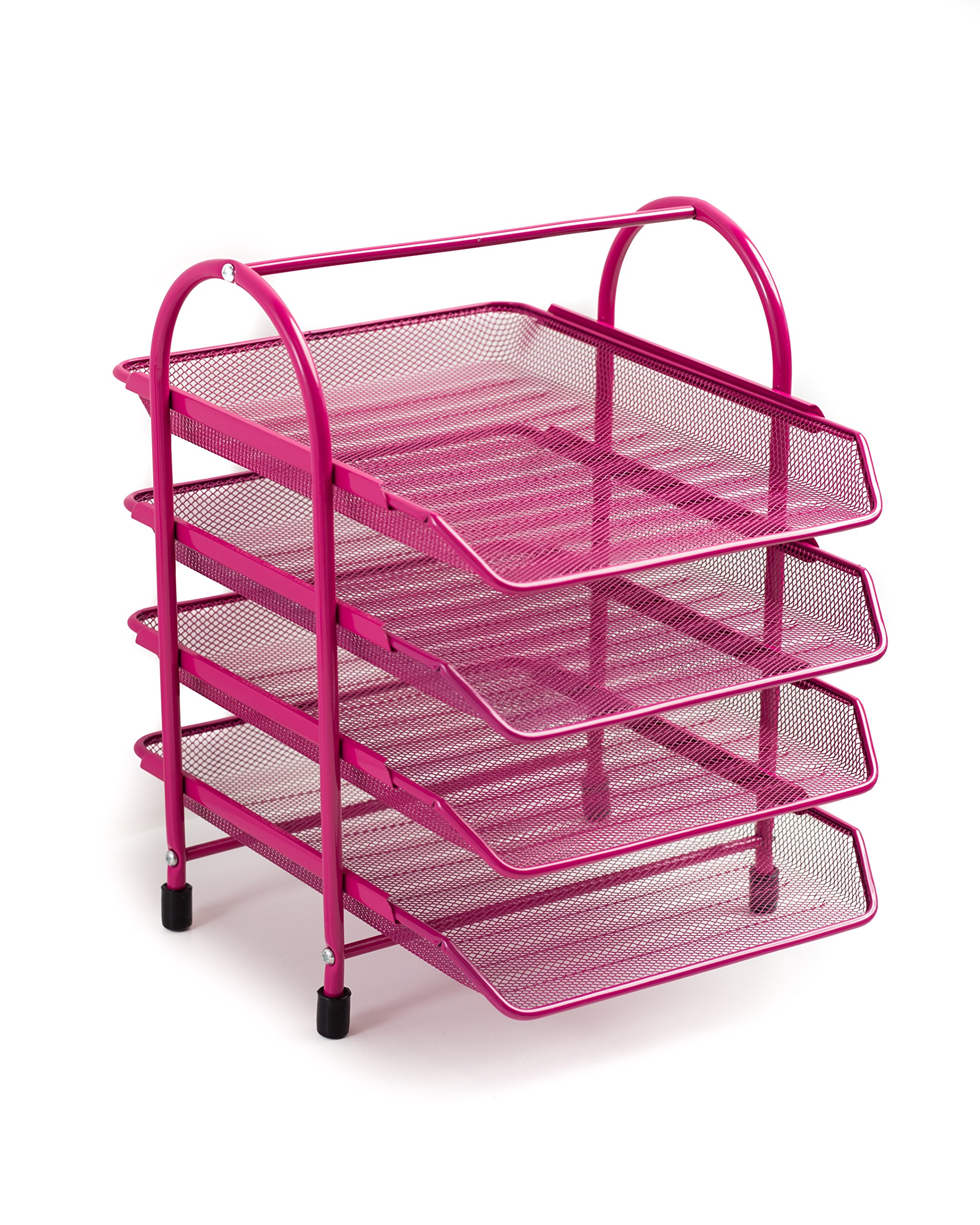 Klickpick Office 4 Tier Heavy Duty Metal Desktop Letter Tray File Organizer Sorter Desk Document Organizer Shelf Tray Magazine Holder Paper File Newspaper Organizer Tray Pink