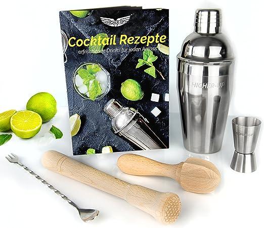 Pack de coctelera con muchos accesorios: coctelera profesional + vaso medidor + cuchara de bar + cubitera + pinzas de bar + mortero + exprimidor + libro de recetas: Amazon.es: Hogar