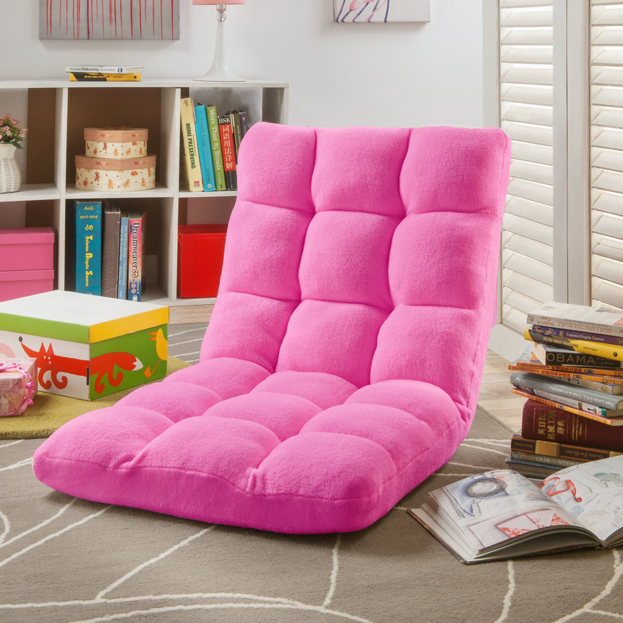 Loungie Super-Soft Folding Adjustable Floor Relaxing/Gaming Recliner Chair, Pink