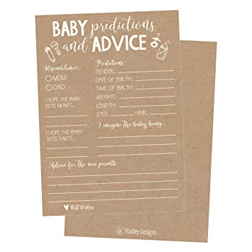 50 Rustic Advice And Prediction Cards For Baby Shower Game, New Mom U0026 Dad  Card