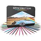 officematters 48 crayons de couleur pour les Livres à colorier pour adultes, Noyau dur, paquet de 48 avec un étui de fer, couleurs assorties