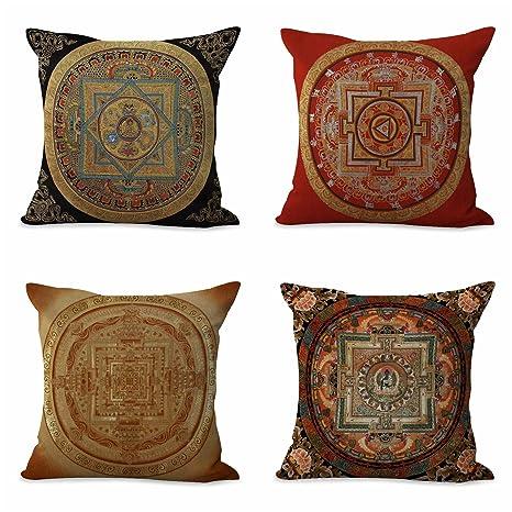 Amazon.com: Conjunto de 4 tibetano Mandala Funda de cojín ...