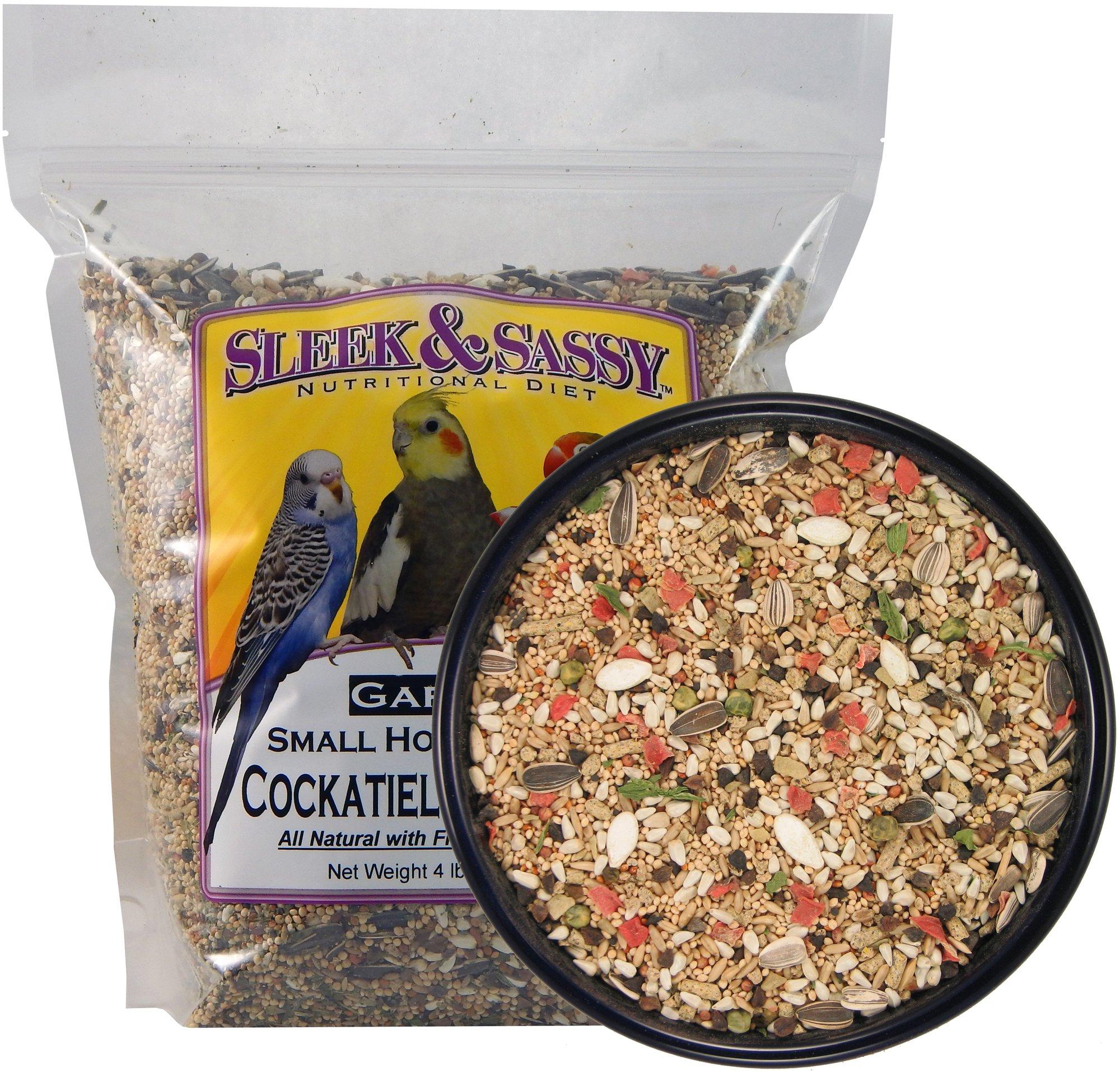 Sleek & Sassy Garden Small Hookbill Bird Food for Cockatiels, Lovebirds, Quaker Parrots & Small Conures (4 lbs.) by Sleek & Sassy
