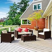 Cloud Mountain Rattan Love Seat Furniture Bistro Sofa Set Outdoor Wicker Patio Garden Glass Top Table